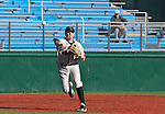 February 24, 2012:   Utah Valley Wolverines Jake Rickenbach makes the throw to first against the Nevada Wolf Pack during their NCAA baseball game played at Peccole Park on Friday afternoon in Reno, Nevada.
