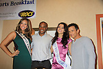 "Andrea Rogers (Miss West Virginia USA) and Morgan Breeden (Miss West Virginia Teen) pose with General Hospital's Scott Reeves ""Dr. Steven Lars Webber"" who is the Celebrity Grand Marshal and Sports Celebrity Virginia Tech, NFL, WFL wide receiver Shawn Scales at the 33rd Annual Mountain State Apple Harvest Festival (MSAHF) 2012 on October 20, 2012 at the Bob Elmer Celebrity Sports Breakfast sponsored by the Rotary Club in Martinsburg, West Virginia. (Photo by Sue Coflin/Max Photos)"