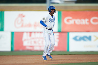 Maikel Garcia (2) of the Burlington Royals takes his lead off of second base against the Danville Braves at Burlington Athletic Stadium on July 13, 2019 in Burlington, North Carolina. The Royals defeated the Braves 5-2. (Brian Westerholt/Four Seam Images)