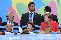 Chancellor of Germany Angela Merkel with Brazil President Dilma Rousseff and FIFA President Sepp Blatter