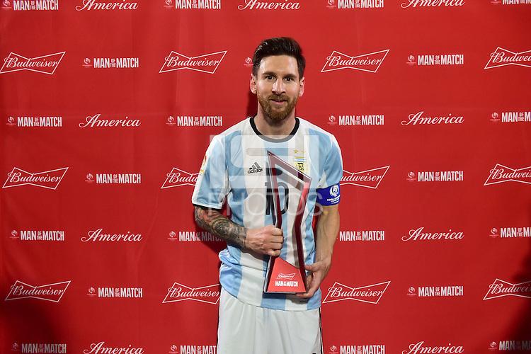 Foxborough, MA - Saturday June 18, 2016: Lionel Messi after a Copa America Centenario quarterfinal match between Argentina (ARG) and Venezuela (VEN)  at Gillette Stadium.