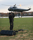 Security is at a high level as the Presidential Helicopter lands  at the U. S Naval Academy in Annapolis, Maryland for the Middle East Peace Conference on November 27, 2007.Agency pool photo by Dennis Brack/Black Star