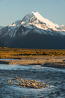 Sunrise on Aoraki Mount Cook 3,724m with Tasman River, Aoraki Mt. Cook National Park, UNESCO World Heritage Area, Mackenzie Country, New Zealand, NZ