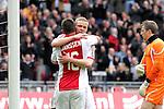 Nederland, AMsterdam, 1 April 2012.Eredivisie.Seizoen 2011-2012.Ajax-Heracles 6-0.Kolbeinn Sigthorsson van Ajax bedankt Theo Janssen na het scoren van de 6-0
