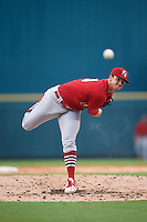 Palm Beach Cardinals starting pitcher Jack Flaherty (34) follows through on a pitch during a game against the Bradenton Marauders on August 8, 2016 at McKechnie Field in Bradenton, Florida.  Bradenton defeated Palm Beach 5-4 in 11 innings.  (Mike Janes/Four Seam Images)