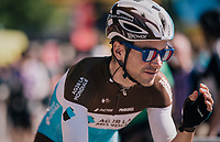 Tony Gallopin (FRA/AG2R-LaMondiale) still enjoying last night's win of France over Belgium in the World Cup at the start<br /> <br /> Stage 5: Lorient &gt; Quimper (203km)<br /> <br /> 105th Tour de France 2018<br /> &copy;kramon