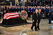 United States Senators Chuck Schumer and Mitch Mcconnell walk after viewing the casket of former Senator John McCain in the Capitol Rotunda where he will lie in state at the U.S. Capitol, in Washington, DC on Friday, August 31, 2018. McCain, an Arizona Republican, presidential candidate and war hero died August 25th at the age of 81. He is the 31st person to lie in state at the Capitol in 166 years.    Photo by Kevin Dietsch/UPI