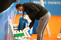 1st May 2020, Hohr Grenzhausen, Germany; Cleaning takes place during todays Tennis Point Exhibition, taking place just outside the small town of Hohr Grenzhausen which is the 1st official sporting event in 37 days in Germany