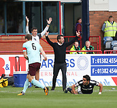 30th September 2017, Dens Park, Dundee, Scotland; Scottish Premier League football, Dundee versus Hearts; Dundee manager Neil McCann and assistant manager Graham Gartland appeal for a decision