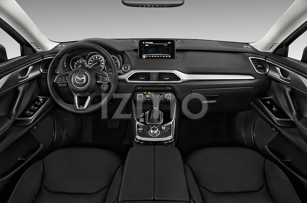 Stock photo of straight dashboard view of 2016 Mazda CX-9 Touring-FWD 5 Door SUV Dashboard