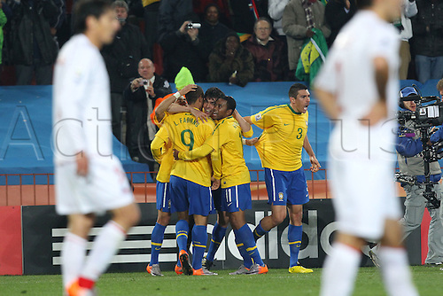 JUNE 28, 2010 - Football : 2010 FIFA World Cup South Africa Round of 16 between Brazil 3-0 Chile at Ellis Park Stadium, Johannesburg, South Africa. Brazil team group after they score their second goal(BRA), .