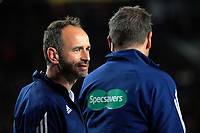 Assistant referee Romain Poite (left) talks to counterpart Jerome Garces during the 2017 DHL Lions Series rugby union match between the NZ All Blacks and British & Irish Lions at Eden Park in Auckland, New Zealand on Saturday, 24 June 2017. Photo: Dave Lintott / lintottphoto.co.nz