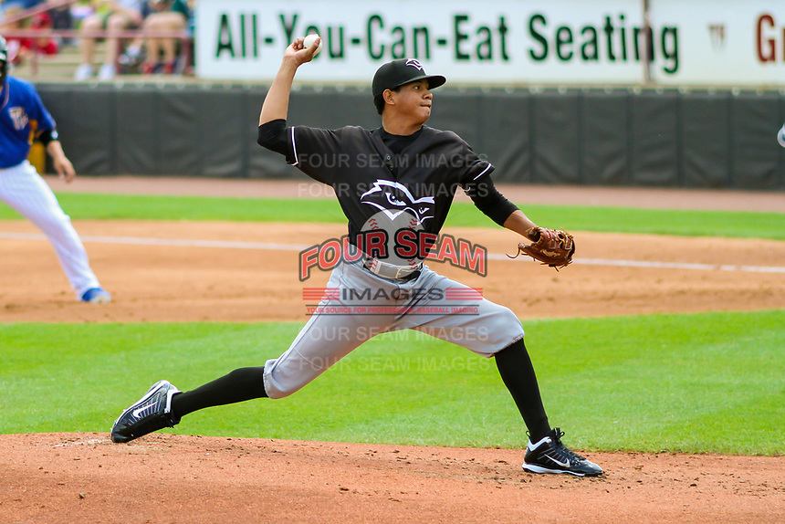 Quad Cities River Bandits pitcher Gabriel Valdez (11) delivers a pitch during a Midwest League game against the Wisconsin Timber Rattlers on June 27, 2017 at Fox Cities Stadium in Appleton, Wisconsin.  Quad Cities defeated Wisconsin 6-5. (Brad Krause/Four Seam Images)