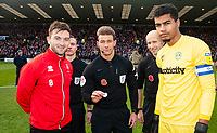 Referee Anthony Backhouse with the commemorative Remembrance coin, with Lincoln City captain Lee Frecklington, left and Forest Green Rovers captain Robert Sanchez<br /> <br /> Photographer Andrew Vaughan/CameraSport<br /> <br /> The EFL Sky Bet League Two - Lincoln City v Forest Green Rovers - Saturday 3rd November 2018 - Sincil Bank - Lincoln<br /> <br /> World Copyright &copy; 2018 CameraSport. All rights reserved. 43 Linden Ave. Countesthorpe. Leicester. England. LE8 5PG - Tel: +44 (0) 116 277 4147 - admin@camerasport.com - www.camerasport.com