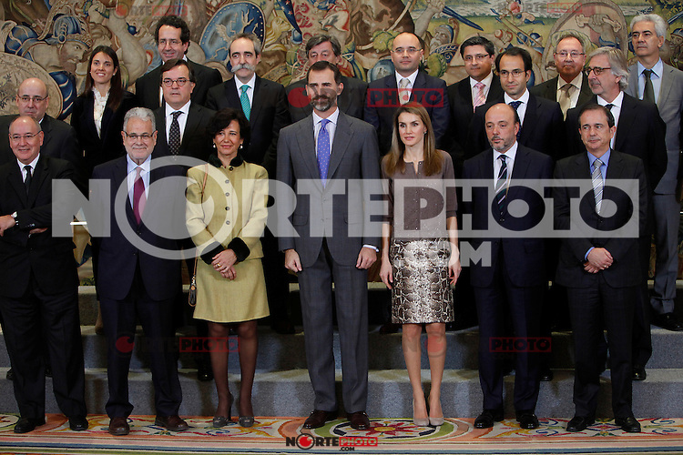 Ana Patricia Botin, Prince Felipe of Spain and Princess Letizia of Spain attend an audience at Zarzuela Palace attend an audience at Zarzuela Palace. December 14, 2012. (ALTERPHOTOS/Caro Marin) /NortePhoto