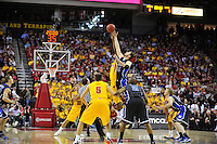 Jordan Williams of the Terrapins wins the tip-off to start the game against the Duke Blue Devils at the Comcast Center in College Park, MD on Wednesday, March 3, 2010. Alan P. Santos/DC Sports Box