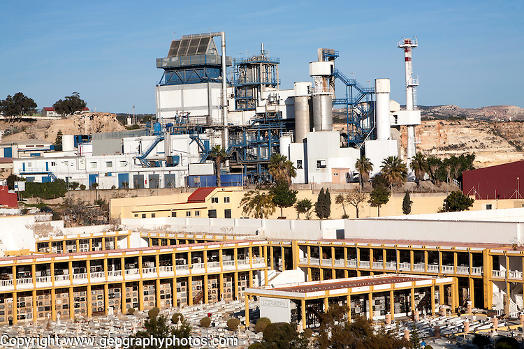 Power station and cemetery Melilla autonomous city state Spanish territory in north Africa, Spain