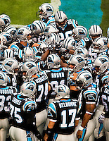 Carolina Panthers at Bank of America Stadium in Charlotte, NC. Photo from the Carolina Panthers' 20-9 loss to the Buffalo Bills in Charlotte on Sunday, Oct. 25, 2009. Professional American NFL football team The Carolina Panthers represents North Carolina and South Carolina from its hometown of Charlotte, NC. The Carolina Panthers are members of the NFL's National Football Conference South Division. The Charlotte professional football team began playing in Charlotte in 1995 as an expansion team.  The Carolina Panthers play in Bank of America Stadium, formerly known as Carolinas Stadium and Ericsson Stadium.