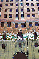 Detroit:  Guarian Building--Facade above entrance.  Ascending, granite, glazed tile from Pewabic Pottery Co. of Detroit & polychrome brick veneer. Photo '97.