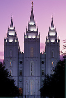 mormons, temple, Salt Lake City, UT, Utah, Mormon Temple in Salt Lake City at sunset. The Church of Jesus Christ of Latter-day Saints.