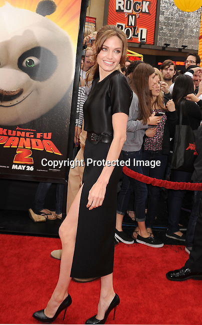 """HOLLYWOOD, {CA} -MAY 22: Angelina Jolie arrives at the Los Angeles premiere of """"Kung Fu Panda 2"""" held at Grauman's Chinese Theatre on May 22, 2011 in Hollywood, California."""