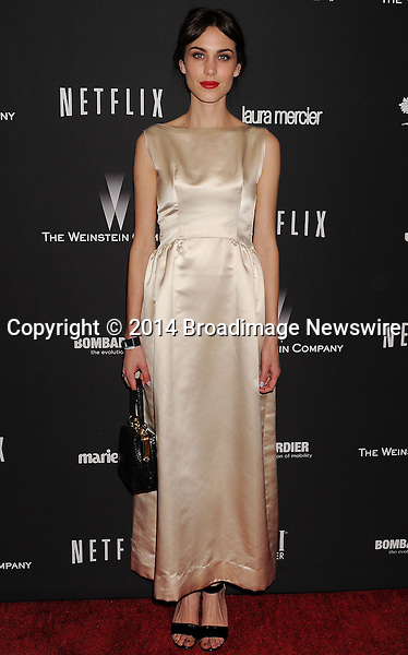 Pictured: Alexa Chung<br /> Mandatory Credit &copy; Joseph Gotfriedy/Broadimage<br /> The Weinstein Company &amp; Netflix 2014 Golden Globes After Party - Arrivals<br /> <br /> 1/12/14, Beverly Hills, California, United States of America<br /> <br /> Broadimage Newswire<br /> Los Angeles 1+  (310) 301-1027<br /> New York      1+  (646) 827-9134<br /> sales@broadimage.com<br /> http://www.broadimage.com