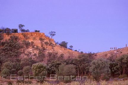 Researchers on saddle, habitat of  Yellow-footed Rock Wallabies. Wallaroo Range,  Lambert Station, near Bulloo R, western QLD
