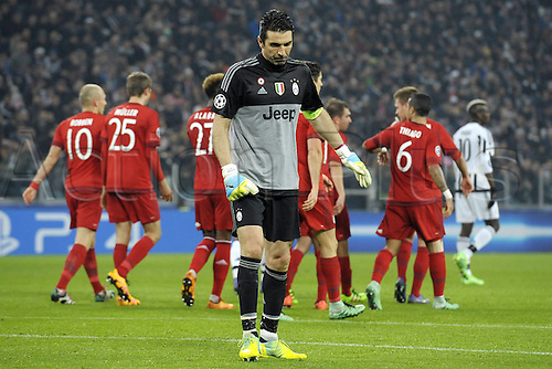 23.02.2016. Turin, Italy. UEFA Champions League football. Juventus versus Bayern Munich.  A dejected Gianluigi Buffon Juventus as the goal goes in from Thomas Muller.