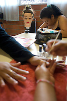Mexico City, Mexico. Friday, May 4, 2007.  A beaty salon workshop run by one of the prison inmates at Santa Martha Acatitla, Mexico City's high security women's prison.