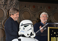 Mark Hamill &amp; George Lucas at the Hollywood Walk of Fame Star Ceremony honoring actor Mark Hamill, Los Angeles, USA 08 March 2018<br /> Picture: Paul Smith/Featureflash/SilverHub 0208 004 5359 sales@silverhubmedia.com