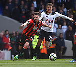 Dele Alli-Tottenham & Adam Smith-Bournemouth during the English Premier League match at the White Hart Lane Stadium, London. Picture date: April 15th, 2017.Pic credit should read: Chris Dean/Sportimage