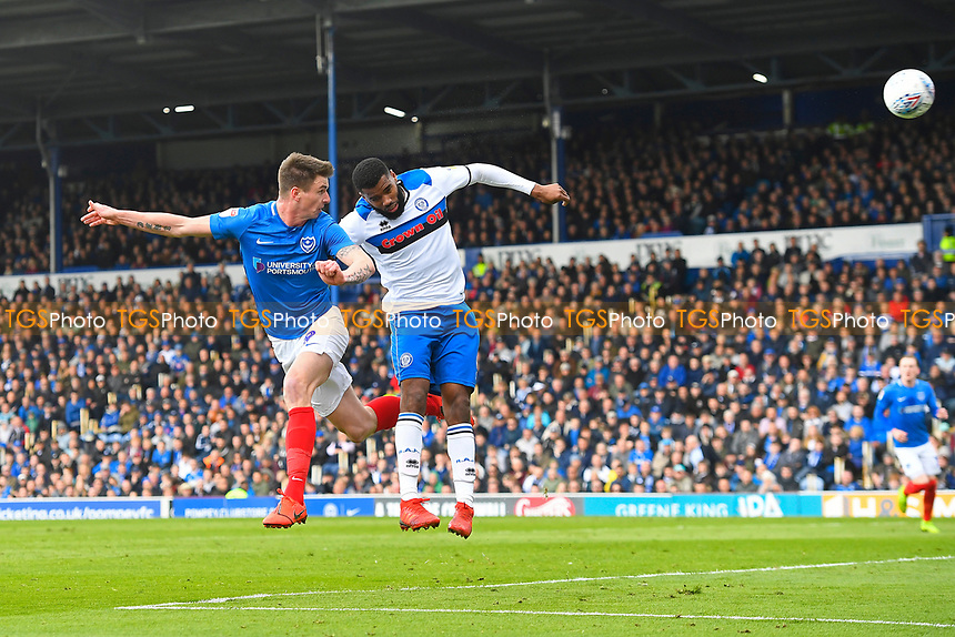 Oli Hawkins heads the first goal during Portsmouth vs Rochdale, Sky Bet EFL League 1 Football at Fratton Park on 13th April 2019