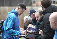 Everton's Michael Keane stops to sign autographs for the waiting fans as he arrives at Turf Moor ahead of kick-off,  <br /> <br /> Photographer Rich Linley/CameraSport<br /> <br /> The Premier League - Burnley v Everton - Wednesday 26th December 2018 - Turf Moor - Burnley<br /> <br /> World Copyright &copy; 2018 CameraSport. All rights reserved. 43 Linden Ave. Countesthorpe. Leicester. England. LE8 5PG - Tel: +44 (0) 116 277 4147 - admin@camerasport.com - www.camerasport.com