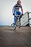 Connor Fields practicing his starts on the London Replica BMX track at the US Olympic Training Center in Chula Vista, CA