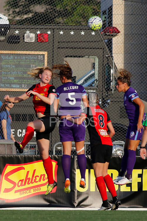 Rochester, NY - Saturday June 11, 2016: Western New York Flash midfielder Samantha Mewis (5),Orlando Pride forward Laura Alleway (5), Western New York Flash defender Alanna Kennedy (8) during a regular season National Women's Soccer League (NWSL) match between the Western New York Flash and the Orlando Pride at Rochester Rhinos Stadium.