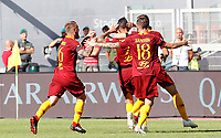Roma's Lorenzo Pellegrini, second from left, celebrates with his teammates after scoringduring the Italian Serie A football match between Roma and Lazio at Rome's Olympic stadium, September 29, 2018. Roma won 3-1.<br /> UPDATE IMAGES PRESS/Riccardo De Luca