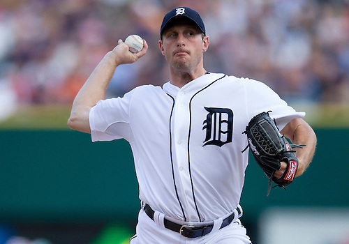 June 06, 2012:  Detroit Tigers pitcher Max Scherzer (37) delivers pitch during MLB game action between the Cleveland Indians and the Detroit Tigers at Comerica Park in Detroit, Michigan.  The Indians defeated the Tigers 9-6.