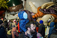NEW YORK, NY – NOVEMBER 21: A child on shoulders visits the balloons of the annual Macy's Thanksgiving Day Parade the night before the parade on November 21, 2018 in New York City. (Photo by Pablo Monsalve /VIEWPress)