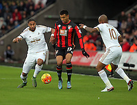 Joshua King of Bournemouth (C) is challenged by Ashley Williams (L) and Andre Ayew of Swansea (R) during the Barclays Premier League match between Swansea City and Bournemouth at the Liberty Stadium, Swansea on November 21 2015