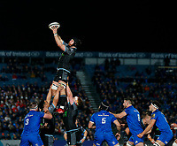 p28th February 2020; RDS Arena, Dublin, Leinster, Ireland; Guinness Pro 14 Rugby, Leinster versus Glasgow; Tim Swinson of Glasgow collects the line out ball