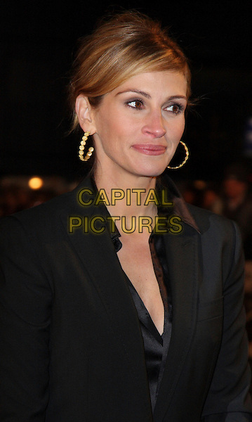 "JULIA ROBERTS.""Duplicity"" World Premiere arrivals at the .Empire cinema, Leicester Square, London, England, 10th March 2009..portrait headshot black jacket gold hoop earrings hair up .CAP/ROS.©Steve Ross/Capital Pictures"