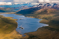 Aerial of bob johnson lake, the Brooks Range mountains, Arctic, Alaska.