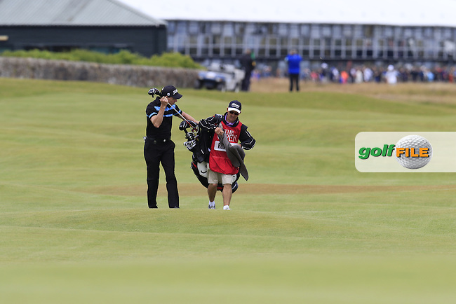 Brett Rumford (AUS) and caddy John &quot;Ronnie&quot; Roberts walk to the 17th green during Monday's Final Round of the 144th Open Championship, St Andrews Old Course, St Andrews, Fife, Scotland. 20/07/2015.<br /> Picture Eoin Clarke, www.golffile.ie