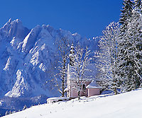 Austria, Upper Austria, Salzkammergut, Gosau: chapel and Dachstein mountains