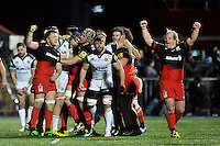 Saracens players celebrate at the final whistle. Aviva Premiership match, between Saracens and Bath Rugby on January 30, 2016 at Allianz Park in London, England. Photo by: Patrick Khachfe / Onside Images