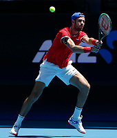 7th January 2020; RAC Arena, Perth, Western Australia; ATP Cup Australia, Perth, Day 5; Russia versus Norway; Karen Khachanov of Russia plays a backhand shot against Viktor Durasovic of Norway - Editorial Use