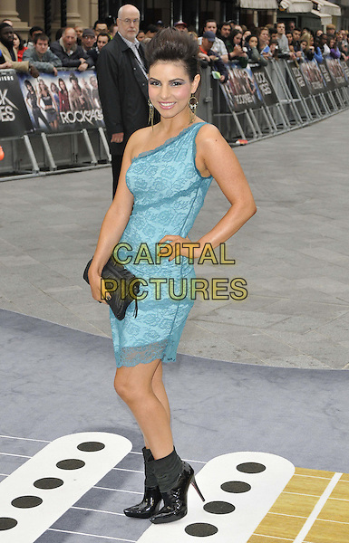 Roxanne Pallett.UK Premiere of 'Rock Of Ages' at the Odeon, Leicester Square, London, England..June 10th 2012.full length blue turquoise one shoulder dress hand on hip black clutch bag lace ankle boots   .CAP/CAN.©Can Nguyen/Capital Pictures.