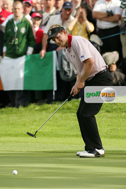 September 24th, 2006. European Ryder Cup team player Luke Donald on the 15th green during the singles final session of the last day of the 2006 Ryder Cup at the K Club in Straffan,. County Kildare in the Republic of Ireland...Photo: Fran Caffrey/ Newsfile.