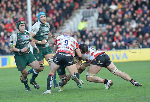 30.01.2016. Kingsholm, Gloucester, England. Aviva Premiership. Gloucester versus Leicester Tigers. Willi Heinz at the back of the ruck.