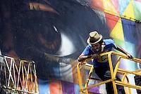 Roma, 4 Maggio 2014<br /> Il Muralista brasiliano Eduardo Kobra dipinge la facciata di Metropoliz con un mural dedicato a Malala.<br /> La ex fabbrica Fiorucci occupata da decine di famiglie ospita anche il MAAM , museo dell'altro e dell'altrove di Metropoliz.<br /> Kobra all'opera.<br /> Brasilian street artist Eduardo Kobra, painting Malala's eyes in a occupied factory